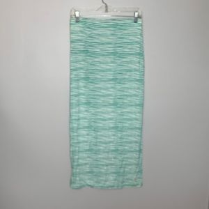 Loft Green White Stripe Maxi Skirt Sz XS